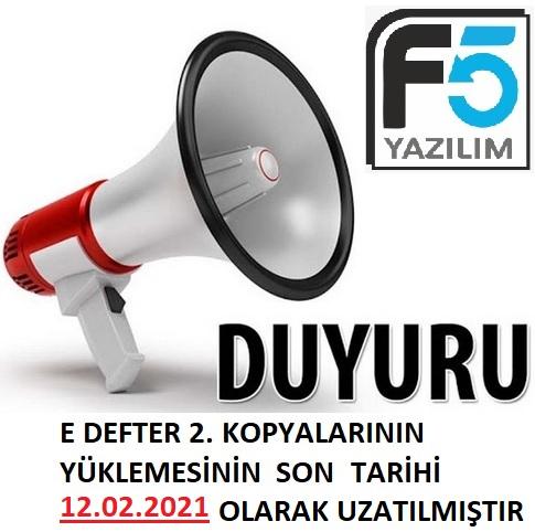 E-DEFTER 2. KOPYA YÜKLEME SÜRESİ UZATILDI
